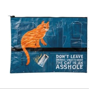 Funny cat Don't leave drinks unattended zip pouch